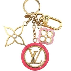 Gold Pink with Marble Texture Key Ring Chain Charm